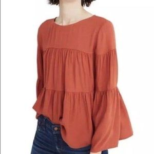 Madewell bell sleeve Ruffle tiered top